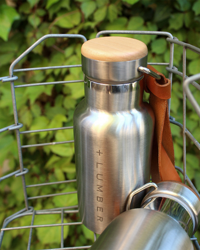 【pick up!】ステンレス素材に銘木をプラスした サーモボトル 350ml(水筒・タンブラー)