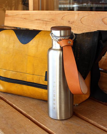 【pick up!】ステンレス素材に銘木をプラスした サーモボトル 600ml(水筒・タンブラー)