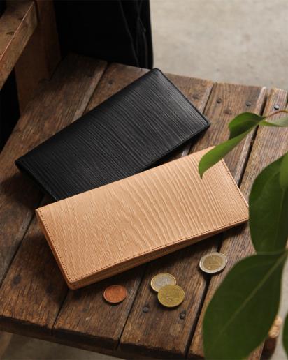 【pick up!】本物の木目を型押しした、本革の長財布「WOODY Slim Wallet」