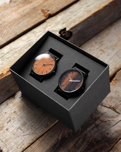 【ペアギフト】文字盤に本木目を使用した木製ペアウォッチ「WATCH 1100」