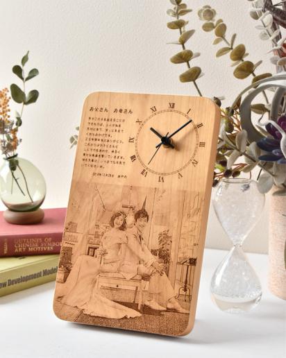 【ウェディング】感謝の想いと共に時を刻む木製メッセージ時計 Mサイズ × 商品1点